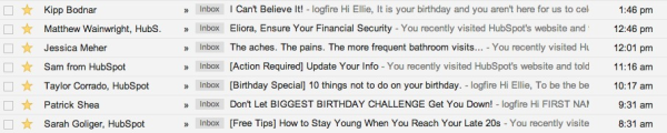 Birthday Email Inbox