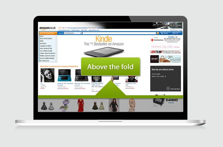 Above the fold on Amazon.co.uk