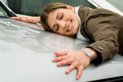woman loving car