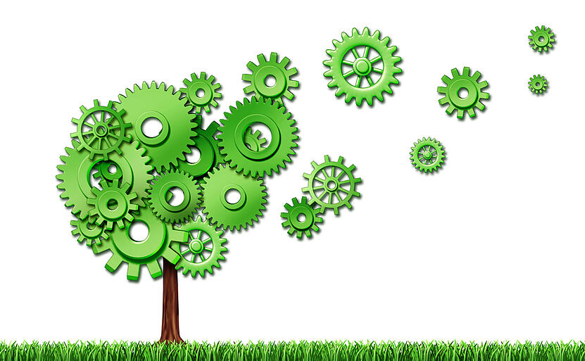 Tree with green gears for leaves