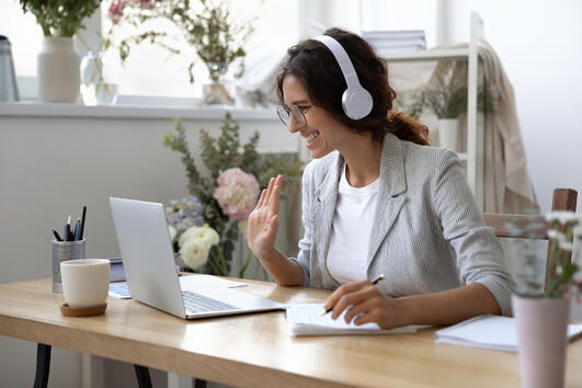 Woman attending virtual conference