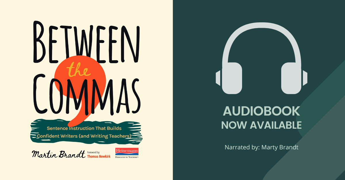 Between The Commas Book Cover with Headphones and text: Audiobook Now Available. Narrated by Marty Brandt.