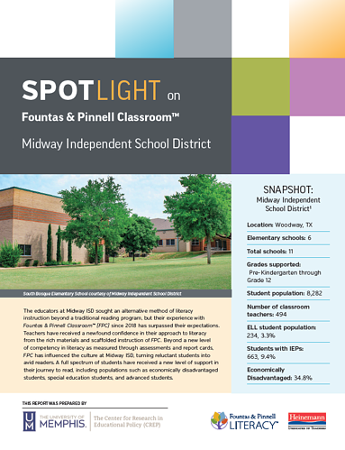 Fountas Pinnell Classroom - Spotlight on Midway ISD - cover