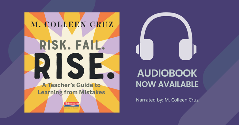 Book Cover of Risk Fail Rise. Headphone graphic with words Audiobook Now Available. Narrated by M. Colleen Cruz