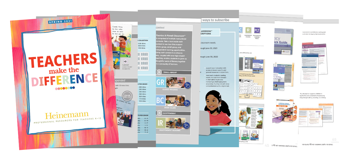 Spring 2021 Fountas and Pinnell Catalog Pages Graphic for Whats New Blog