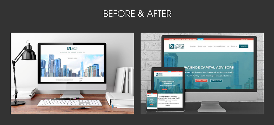 before and after website design by a professional