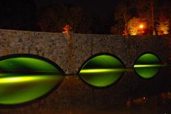 Fishing lights under bridge