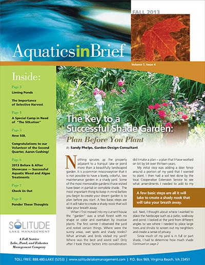 SOLitude Lake Management aquatics in brief fall newsletter