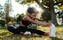 a beginner stretching outside