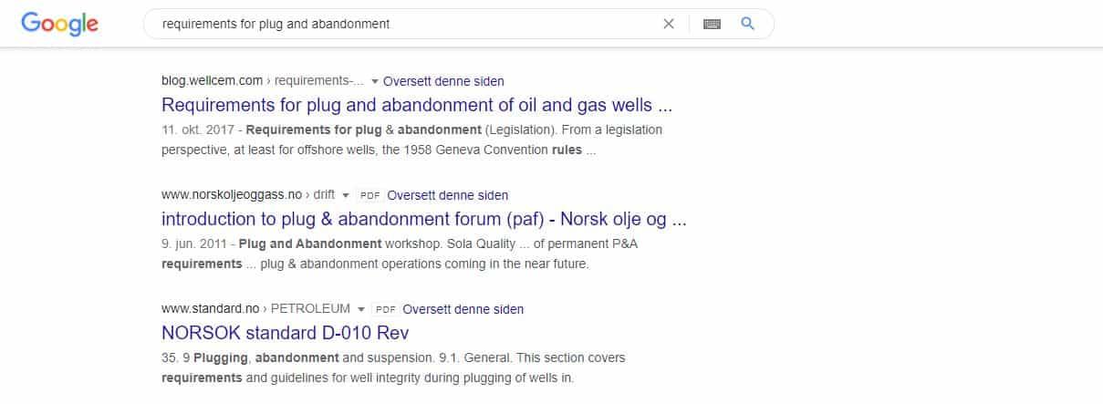 Metabeskrivelse søkeresultat requirements for plug and abandonment