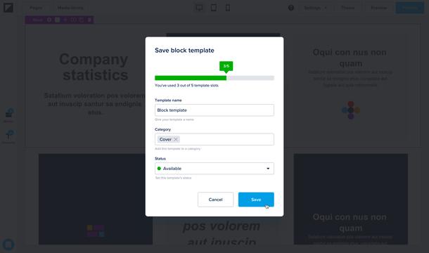 Save block modal