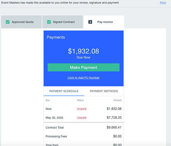 Screenshot of Goodshuffle Pro invoicing and quote system. Digital transactions are key.