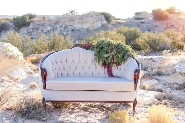 Maura Jane Photography. Darling Details Vintage Decor. Outdoor event rentals sofa at a wedding