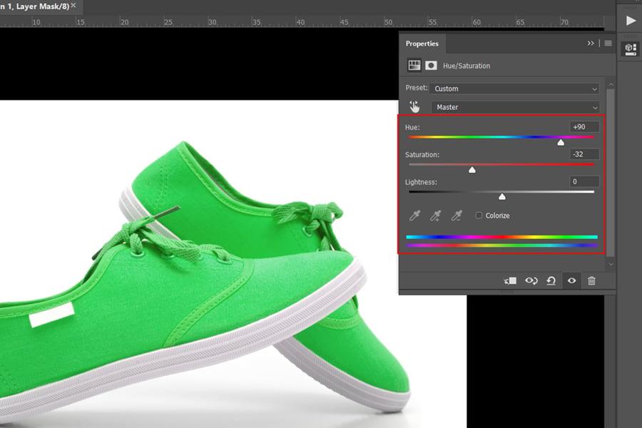 フォトショップの色を変更するhslツール