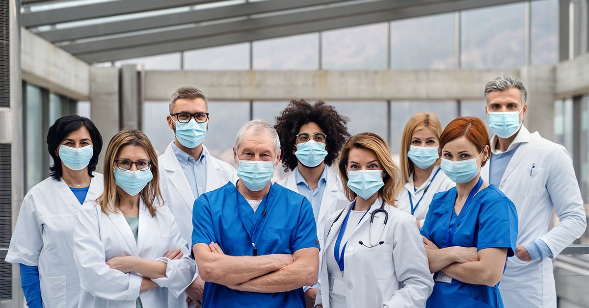 Healthcare workers with masks on