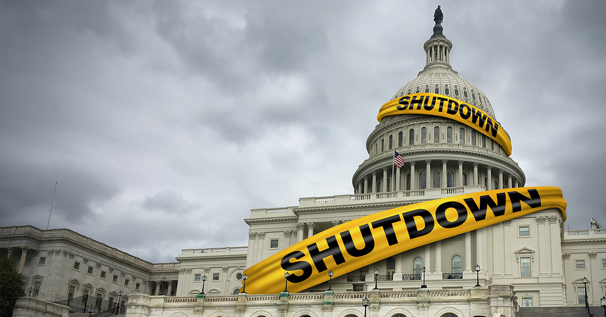 Capitol Building with tape showing a shutdown