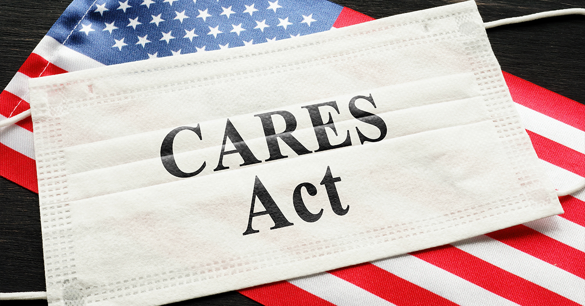 Cares Act with flag