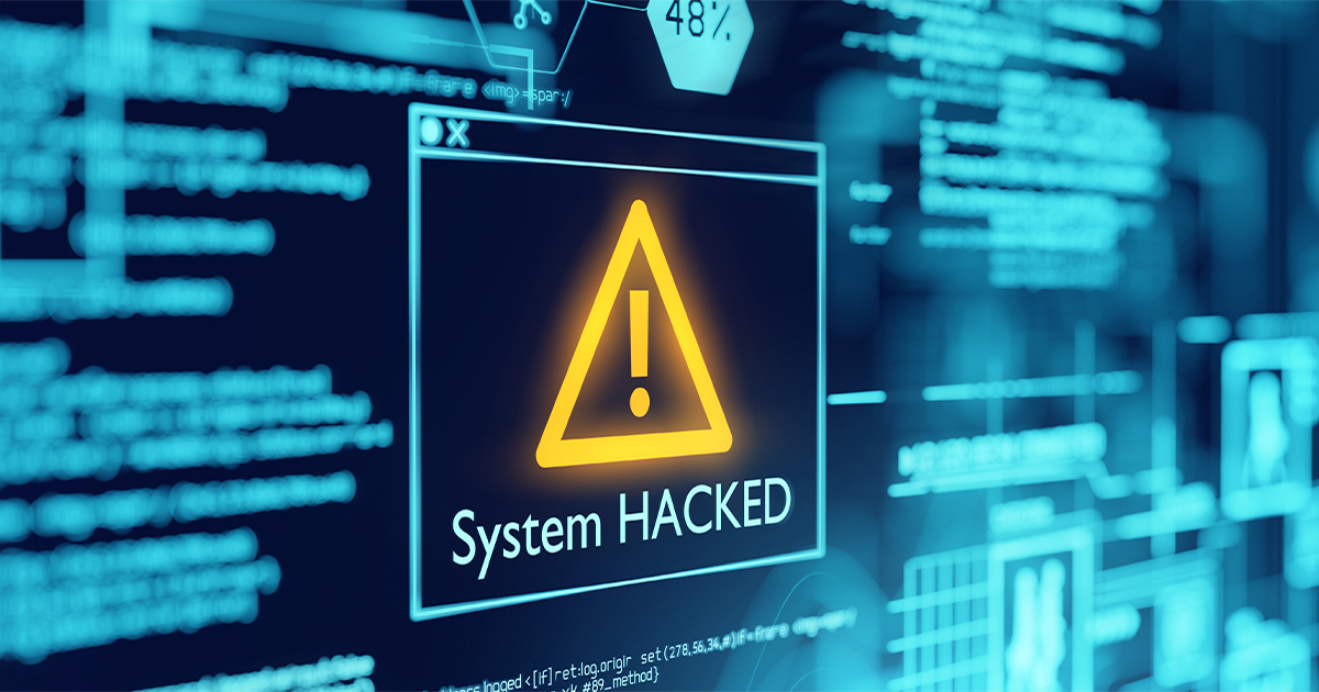 Image showing a warning of a system that has been hacked
