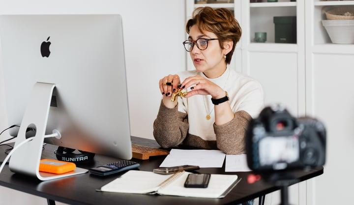 woman coaching remotely