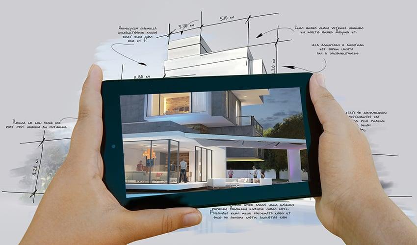 Handyscreen zeigt eine 3D-Ansicht eines Gebäudes, unter dem Handy liegt ein gezeichneter Papierplan