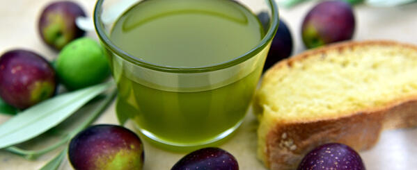 Olive Oil, olives and bread base of the mediterranean diet