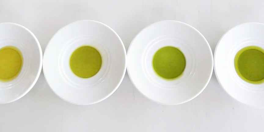 Types of olive oil in plates, different colors, olive green, gold yellow