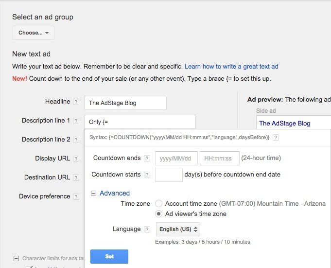 Counting Down to Sales in AdWords Ads Just Got Easier