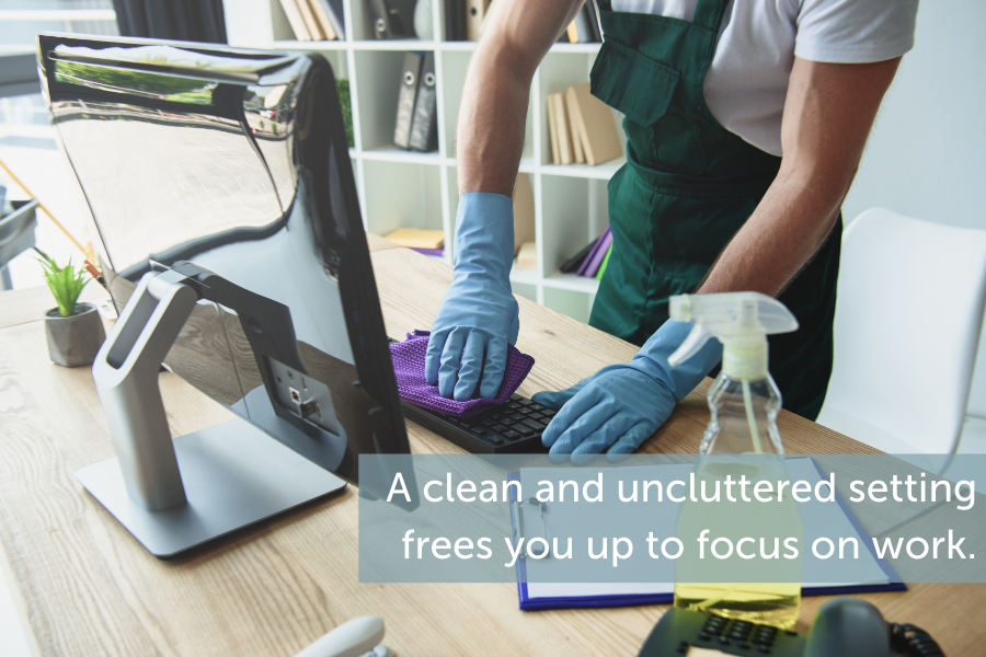A clean and uncluttered setting frees you up to focus on work.