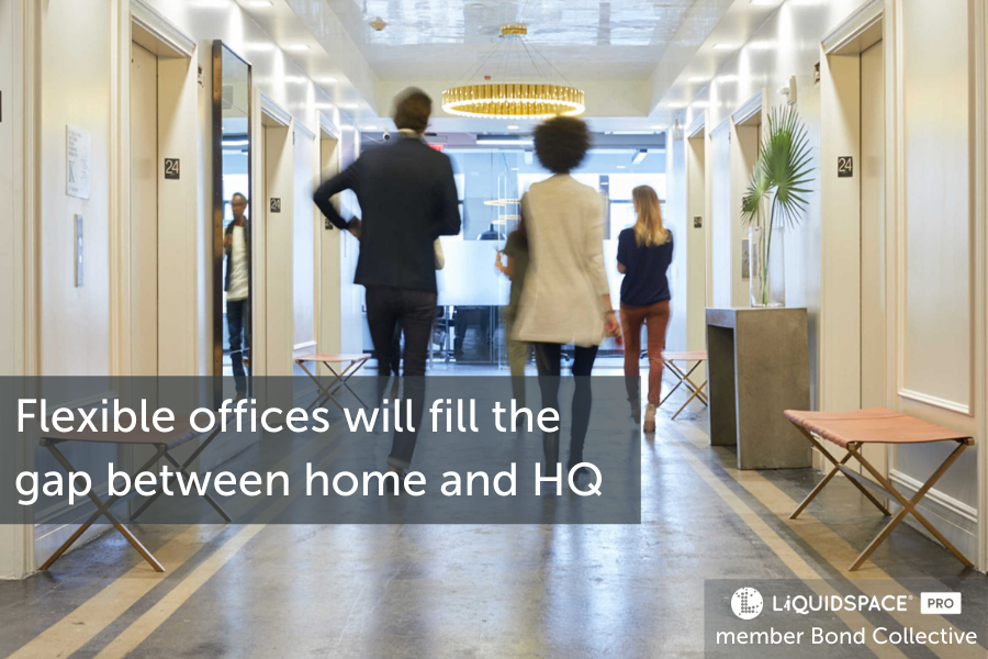Flexible offices will fill the gap between home offices and corporate offices.