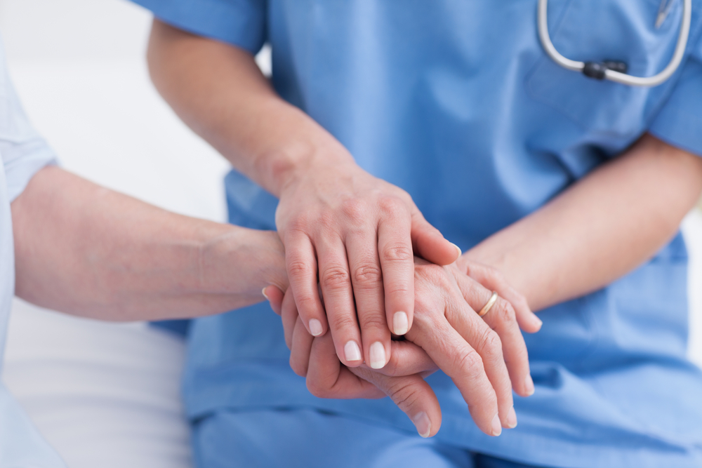 Showing care in a medical office