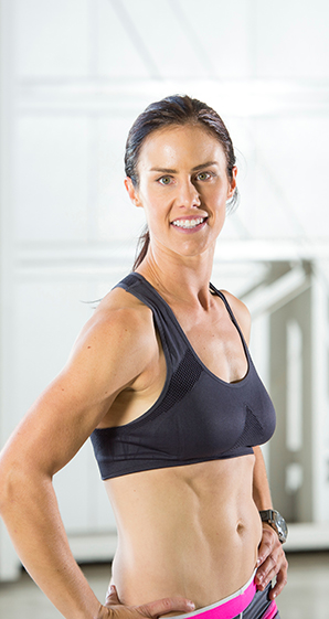 Muscular woman with defined abs and arms that are possible with CoolTone