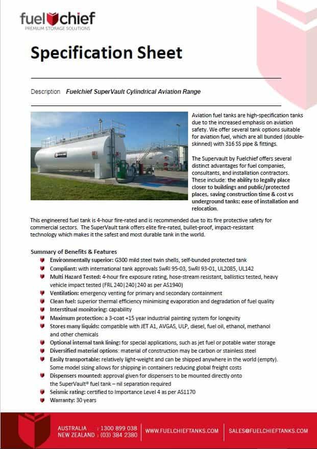 SuperVault Aviation Spec Sheet