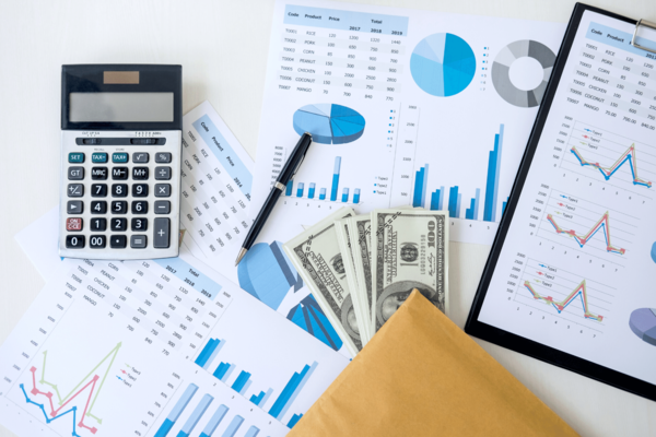 Finance Money Cash Calculator Charts Tables Stock Photo