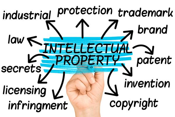 IP Intellectual Property Diagram Stock Photo