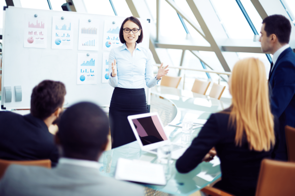 business pitch presentation in front of board investors stock photo