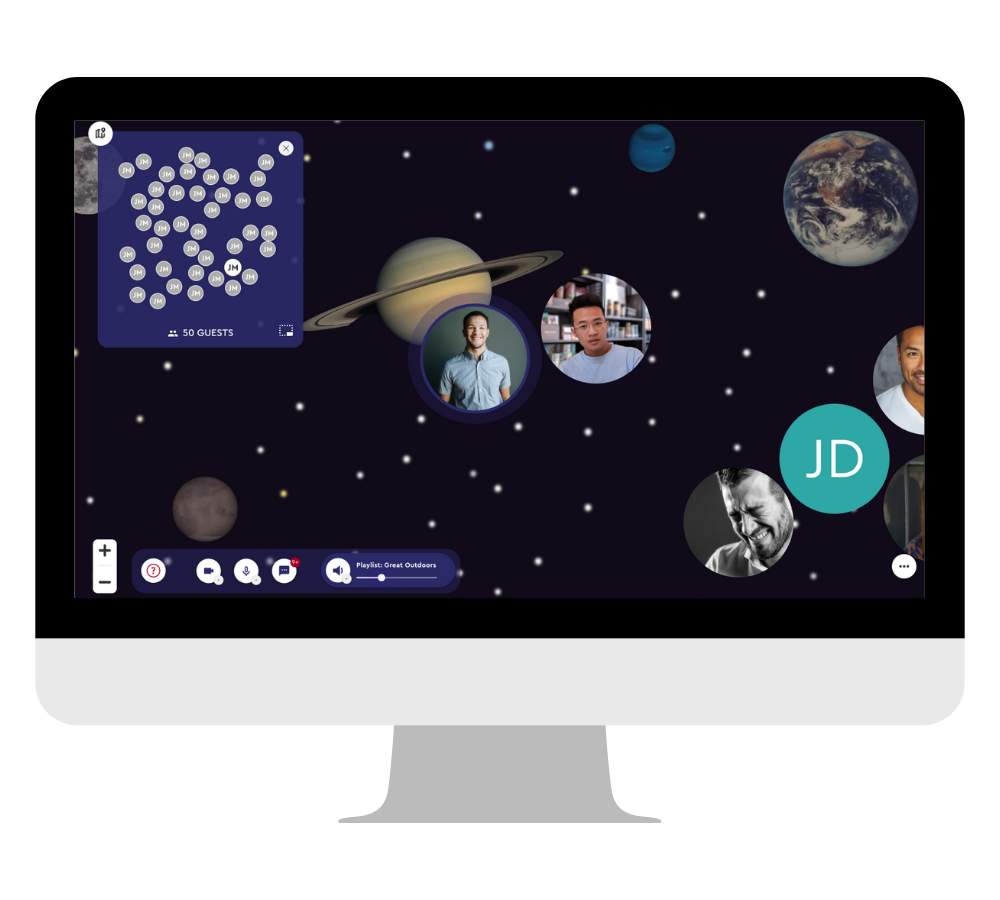 outer space background in desktop frame
