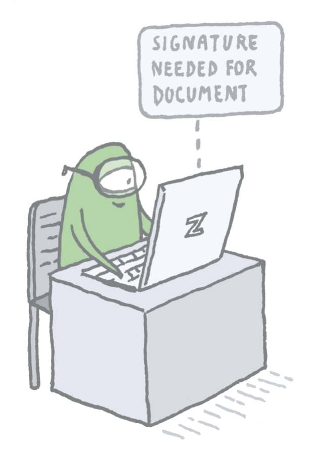 A Zenner on their computer with a note that they have a document due for training to show how ZenQMS can automate the document management lifecycle.