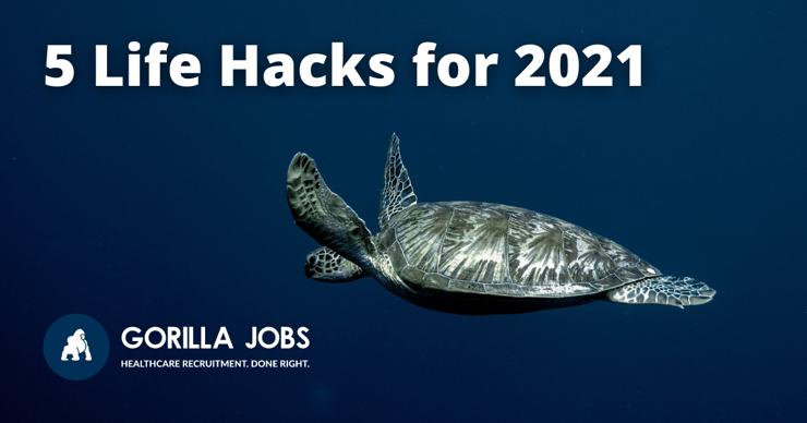 Gorilla Jobs Blog Five Life Hacks For 2021 Giant Turtle Swimming In Empty Blue Ocean
