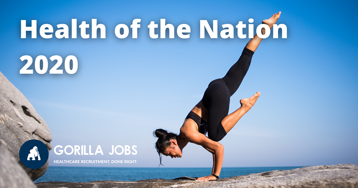 Gorilla Jobs Blog Health of the Nation Report Woman Doing Upward Yoga Pose On Seaside Cliff