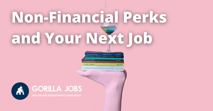 Gorilla Jobs Blog Non Financial Perks In Your Next Job Pink Glove Holding Books and Cocktail On Pink Background