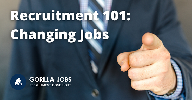 Gorilla Jobs Blog Things to Consider When Changing Jobs Man In Suit Pointing at Camera