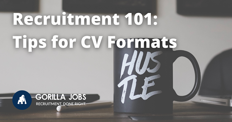 Gorilla Jobs Blog Tips For Medical And Legal CV Formats Coffee Cup With Hustle Written On It On A Desk