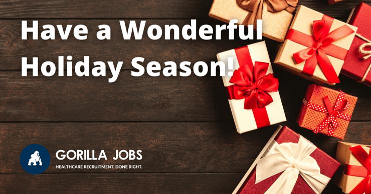 Gorilla Jobs Blog Wishing Everyone Happy Holiday Season Christmas Gifts Wrapped In A Circle
