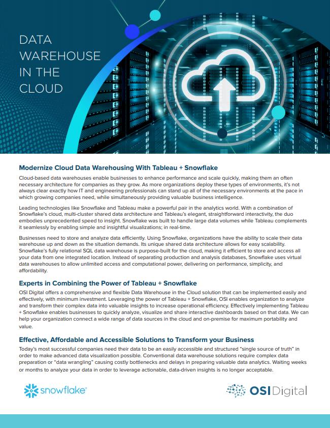 Data Sheet:Data Warehouse In The Cloud