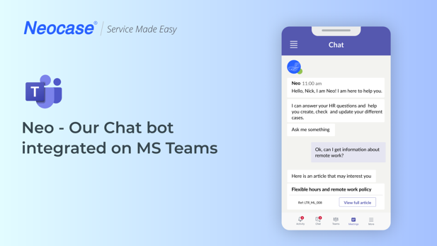 Chatbot-Neocase-MS-Teams