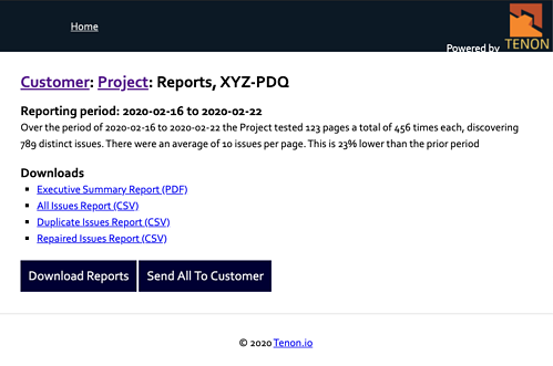 Screenshot of TPM's Project Reports page, showing a summary of the month's data and links to download the content of the reports.