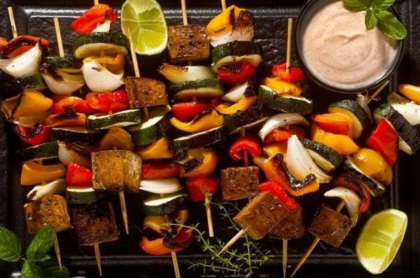 Charred Tofu and Veggie BBQ Skewers