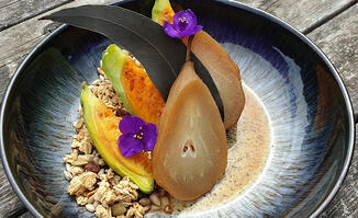 how-to-make-eucalyptus-poached-pear-with-pine-nut-granola