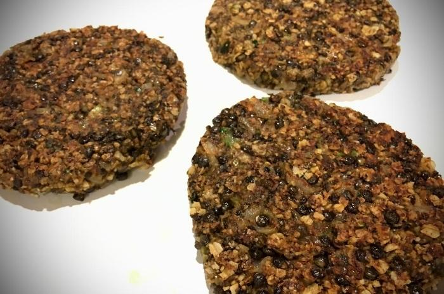 VNo Meat Lentil Mushroom Plant-Based Burger Patties