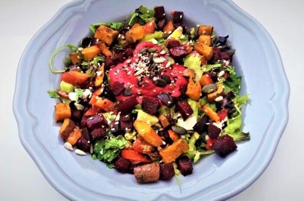 Summer Rainbow Salad with Beets Sweet Potato & Hummus